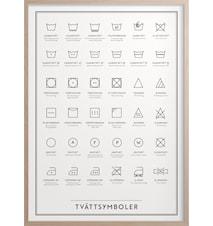 Tvättsymboler Poster 30x40 cm