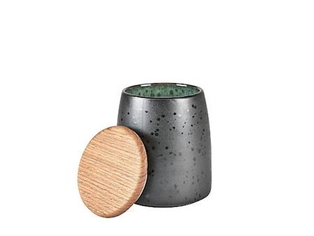 Burk med lock Svart/Grön 16,5 cm