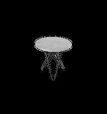 Tall Mini O Table Vit Marmor med Svart Ram Ø50