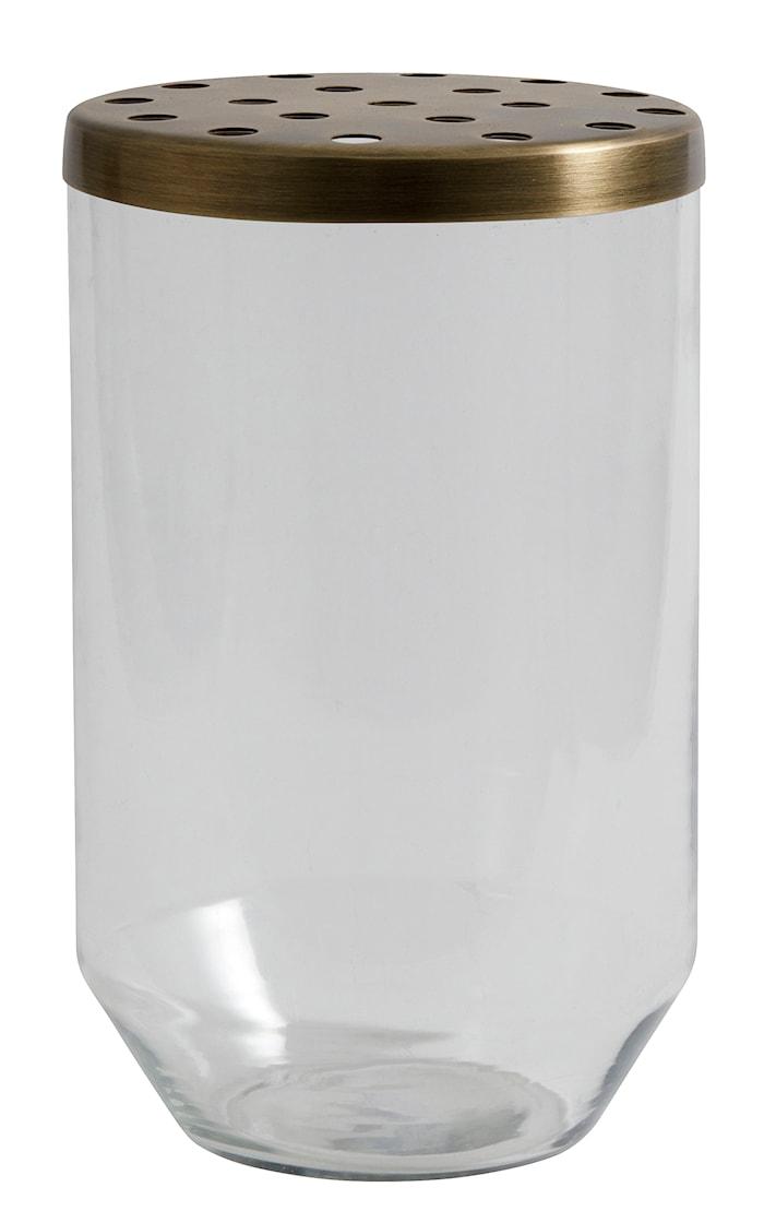 Glasvas metallock 20cm Transparant