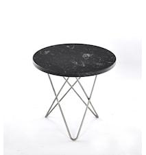 Mini O Table Svart Marmor med Rostfri Stålram Ø40