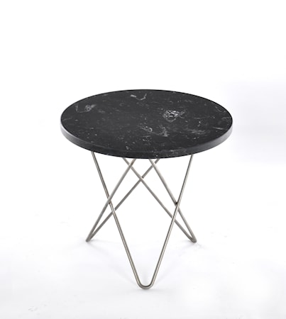 Mini O Table Svart Marmor med Rostfri Stålram Ø40