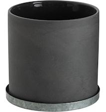 Kruka med zinkfat 12 cm - Grå