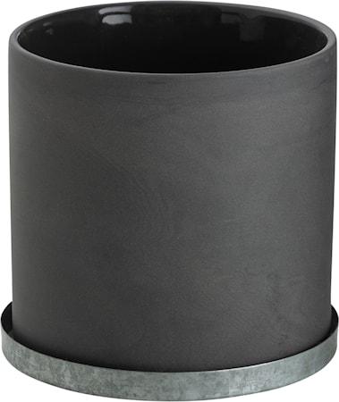 Kruka med zinkfat 12 cm – Grå
