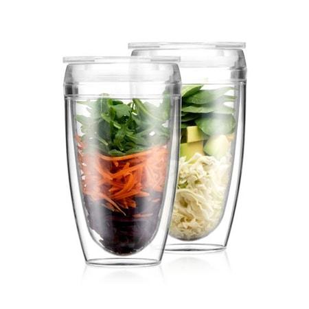 Pavina to go 2 kpl kaksiseinäinen lasi kannella, 0,40 l. BPA-vapaa muovi