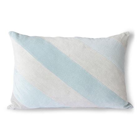 Striped Velvet Cushion ice Blue 40x60 cm