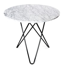 O Table Spisebord Svart/Matt Hvit Marmor Ø80