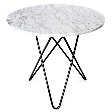 O Table Spisebord Svart/Matt Hvit Marmor Ø80