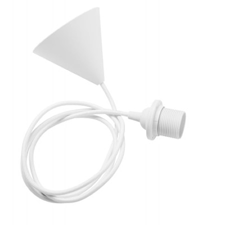 Ensemble cordon plafond E27 blanc