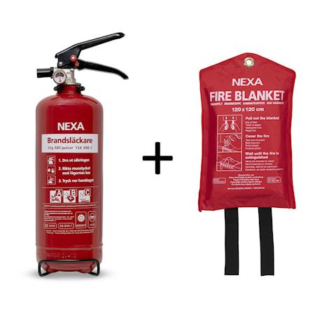 Brandsläckare Röd 2kg + Brandfilt Röd