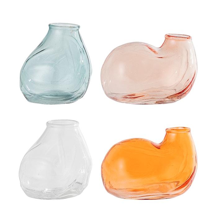 Vase Multicolor Glas 4-pak