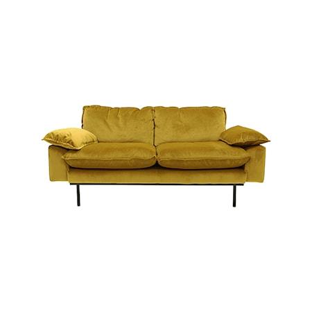 Retro Sofa Fløjl 2-pers Orange/Gul
