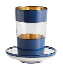 Tea glass w/saucer, dark blue