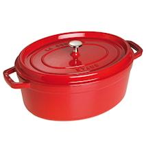 Oval gryta 33 cm röd 6,7 L