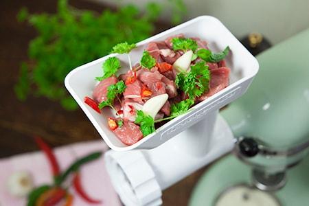 Kjøttkvern til kjøkkenmaskin hvit/stål