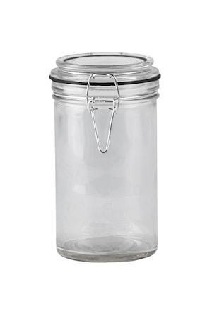 Opbevaringsglas - m. patent låg - Glas - Silikone - Klar - Sort - D 8,5cm - H 15,0cm - 0,45l - Stk.
