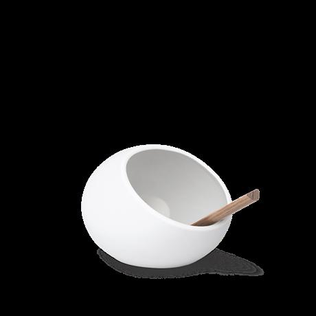 Saltbehållare med Sked i Porslin Vit