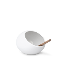 Main à sel avec cuillère en porcelaine blanc