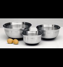 Tilberedningsskåle Sæt Mat Stål/Sort 3 dele