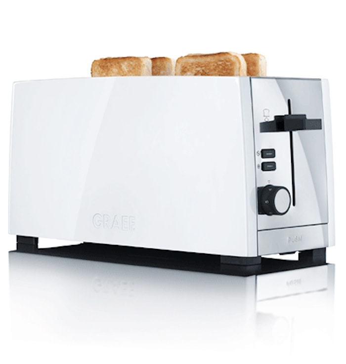 Leivänpaahdin 4 viipaletta, 4 vastusta, 1380W, valkoinen