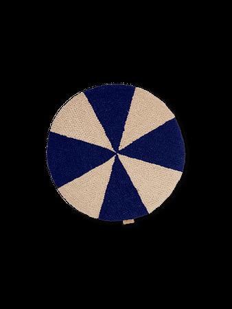 Arch Embr. Rund Kudde Bright Blue/Off-White