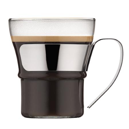 Assam Kaffe/teglas handtag i krom 30 cl 2 st