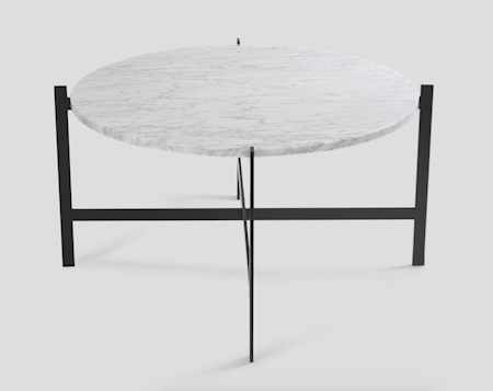 OX DENMARQ Deck table large - vit marmor/svartlackerad stomme
