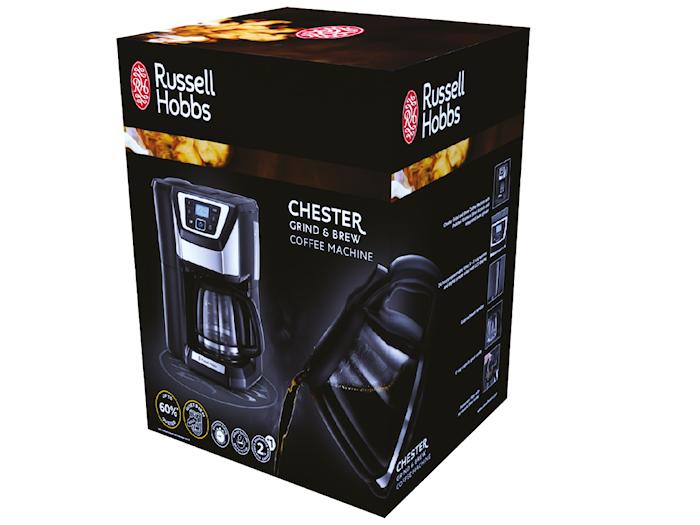 Chester Grind & Brew, Kaffemaskin med Kvern og Timer, 12 kopper