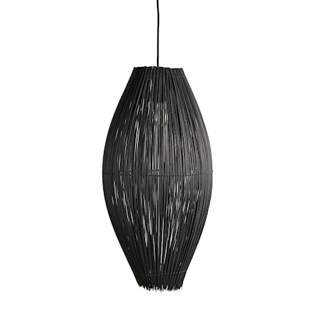 Fishtrap Bambu Large Taglampe 66x35 cm - Sort