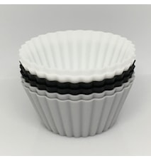 Store muffinsformer, svart–hvit–grå, 6-pakning