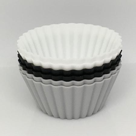 Suuret muffinivuoat, musta-valkoinen-harmaa, 6-pakkaus