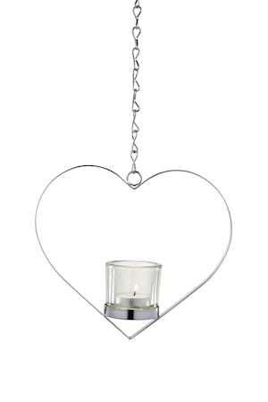 Heda hängande hjärta krompläterad med ljuskupa 22,20 cm kedja 60 cm