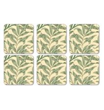 Morris Glasunderlägg Willow Bough Grön 6-pack