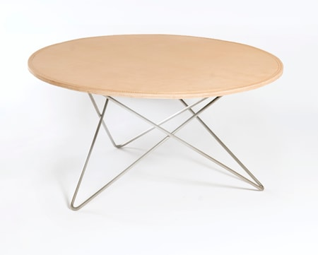 OX DENMARQ O-table leather soffbord ? Nature/stainless