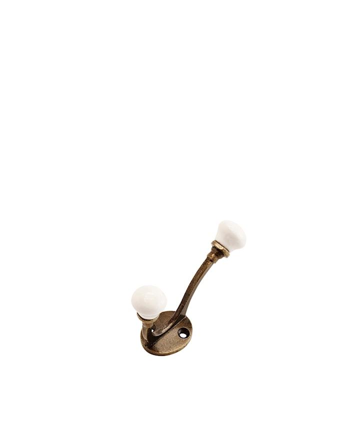 Koukku 9 cm - valkoinen/messinki