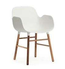 Form Stol med armlene valnøtt - hvit