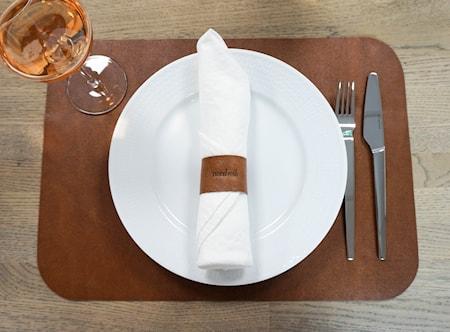Bordbrikke med Serviettring, Skinn