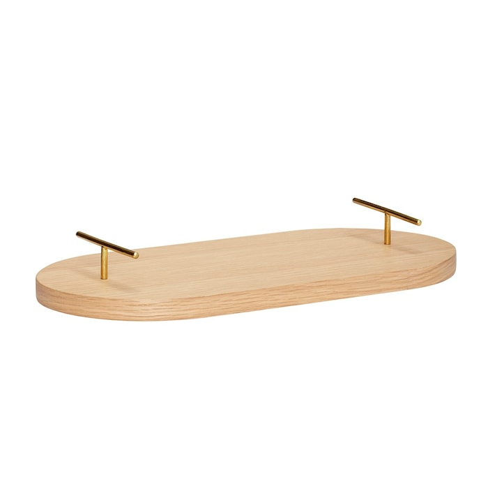 Bricka med handtag Trä Beige 40 cm