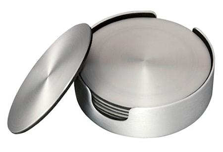 Glassunderlegg 6 pk børstet aluminium