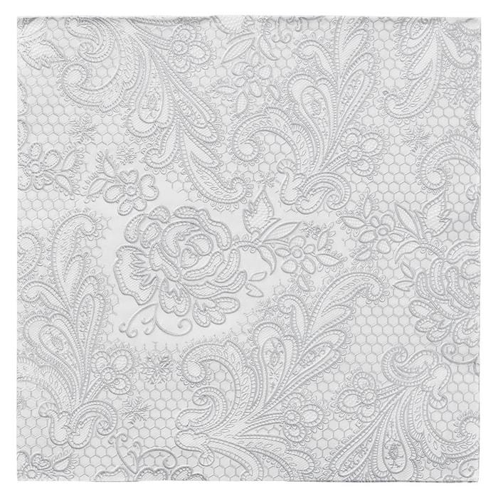 Papperservett Uni Lace Vit/Silver