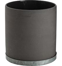 Kruka med zinkfat 16 cm - Grå