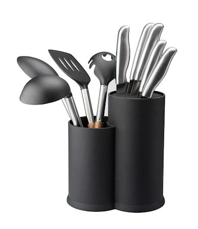 Knivblock med borst och redskapsställ svart höjd 22,5 cm