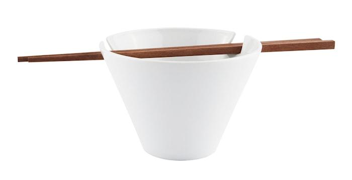 Skål - m. spisepinde - Porcelæn - Træ - Hvid - Brun - D 13,5cm - H 9,0cm - 0,40l - Sæt