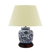 Lampfot, 17,5 cm, blåvit, drake och blommor