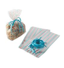 Presentpåsar med snöre Prickig 24-pack