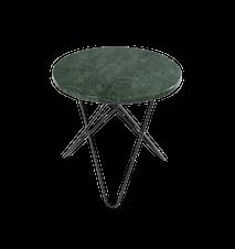 Mini O Sidebord Grønn Marmor med Svart Ramme Ø40