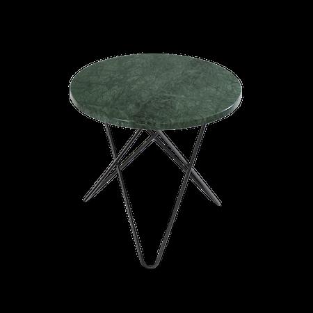 Mini O Sidobord Grön Marmor med Svart Ram Ø40