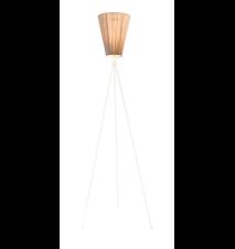Oslo Wood golvlampa – Beige skärm/Vit fot
