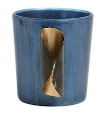 Lämpökynttilänteline Lasi & Kultainen Metalli Sininen