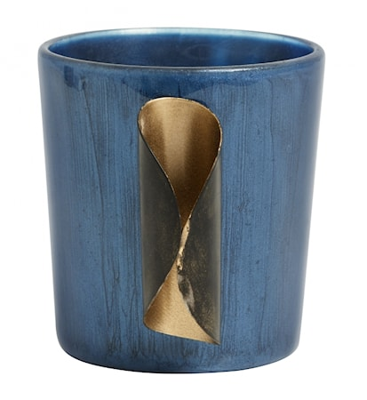 Recipiente para velas vidrio y dorado metal azul